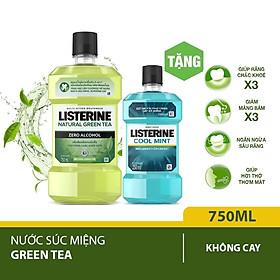 Nước súc miệng Listerine trà xanh 750ml + Tặng 1 coolmint 250ml