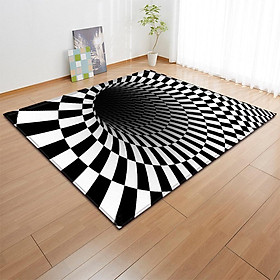 Anti-skid 3d Carpet Restaurant Home Bedroom Mat Black White Foot Pad