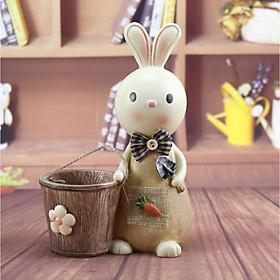 Cắm bút nhựa kèm ống tiết kiệm hình Thỏ cute cầm xẻng