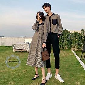 Đồ đôi set áo đôi váy cặp đi biển chụp hình cưới áo sơ mi nam đầm kẻ sọc nữ tay dài phong cách Hàn Quốc cao cấp - Smice House