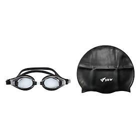 Bộ Kính Bơi Cận View V510-BK (Đen) Và Nón Bơi View V31-BK (Đen)