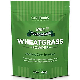 Organic Wheatgrass Powder (15 Ounce): Natural Vegan Whole Food Fiber, Chlorophyll, Antioxidants, Vitamins A, E, C, Selenium, and Iron by Sari Foods Company