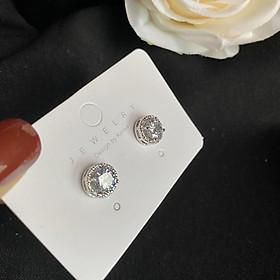 DA07 Khuyên tai bông tai hoa tai khoen nụ đá bạc 925