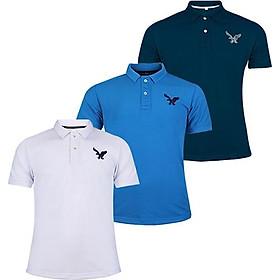 Áo thun nam cổ bẻ chính hãng DOKA dáng thể thao nam cao cấp được thêu logo sắc xảo tông màu cơ bản - Combo 3 áo - Xanh dương, Đen, Xám - XXL