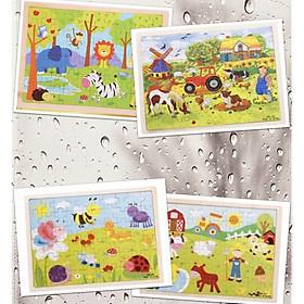COMBO 2 Tranh xếp hình 60 miếng ghép GỖ đồ chơi cho bé (GIAO 2 MẪU NGẪU NHIÊN KHÔNG TRÙNG LẮP)