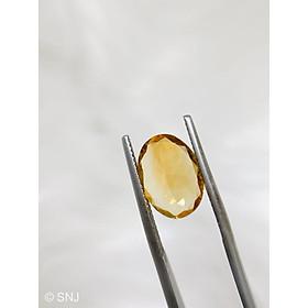 Cặp viên đá citrine thạch anh vàng 10.2 carat hình oval làm nhẫn mặt dây rất đẹp