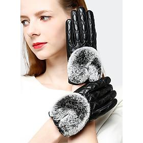 Găng tay nữ trần trám da cừu cao cấp BH6746