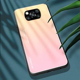 Ốp lưng cho Xiaomi Poco X3 NFC gương cứng 2 màu Gradient Ver 2 , viền TPU dẻo đen