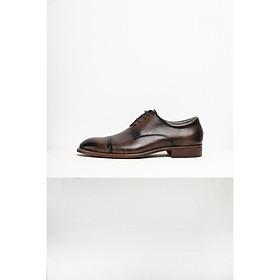 Giày tây nam Oxford da bò màu nâu phong cách thời trang công sở đánh màu patina thủ công