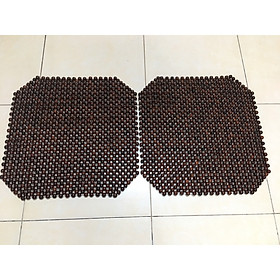 Combo 2 Lót hạt gỗ Trắc chống ê mông , lưu thông máu dùng trên ghế văn phòng hoặc xe hơi - 45cm x45cm ( Mã T2 - Đen )