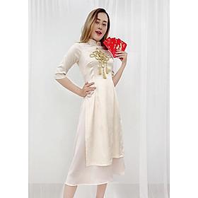 Set Áo Dài Cách Tân Gấm Nữ Đính Họa Tiết Nổi Phối Phụ Kiện Đẹp Kèm Chân Váy ROMI 3170