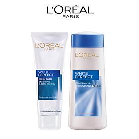 Bộ Sữa rửa mặt và Nước hoa hồng dưỡng trắng da L'Oréal Paris White Perfect