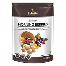 Morning Berries 340G - Hỗn hợp Hạt điều, hạnh nhân, hạt dẻ, nho khô, mâm xôi, việt quất, dâu tây, nam việt quất sấy khô.- Ngũ cốc ăn sáng - mix nuts - Trái cây sấy khô nhập khẩu  Rostaa