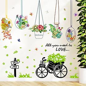 Bộ 2 tờ decal dán tường giỏ hoa xe đạp xanh - HP47
