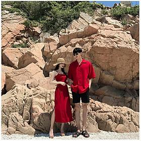 Áo đôi áo cặp áo váy đôi, nữ váy dài hai dây nam sơ mi cao cấp màu đỏ chất đẹp - ÁO ĐÔI SMICE HOUSE