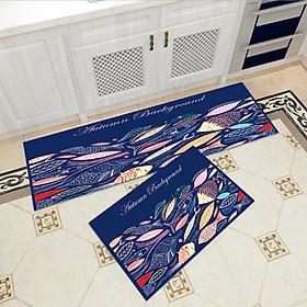 Bộ 2 thảm trang trí, thảm bếp cao cấp GOO13 (40x60 cm và 40x120 cm)