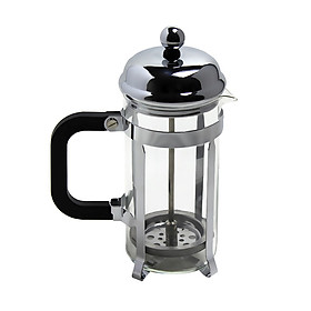 3-Cup Heat Resistant Glass French Press Coffee Maker Coffee Press Tea Maker Pot with Stainless Steel Holder, 350ml 12 oz, Silver