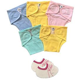 Combo 5 tả vải, tả dán cotton mềm, mịn cho bé sơ sinh Thái Hà Thịnh ( tặng kèm 1 đôi tất sơ sinh amigo như hình)