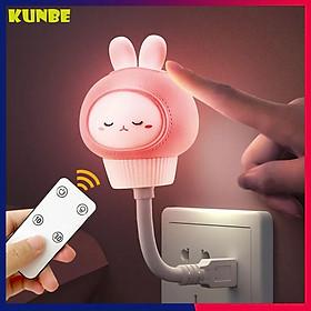 Đèn Ngủ USB Hình Thỏ, Gấu KUNBE Có Điều Khiển Ngộ Nghĩnh - Tặng Dây Cuốn Thu Gọn Cáp Sạc, Tai Nghe