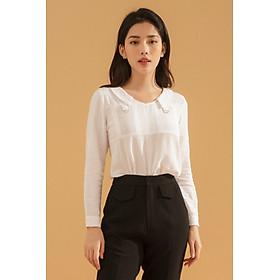Áo sơ mi nữ công sở GUMAC  thiết kế cách điệu cổ V trẻ trung tay dài chất liệu cotton 100% mát mẻ thoáng mát ngày hè AA716