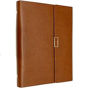 Hình đại diện sản phẩm Sổ da PU bìa còng cao cấp - Màu nâu