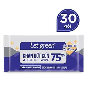 Combo 30 Gói Khăn Ướt Cồn Let-green Gói Đơn 1 Tờ/Gói (1 Tờ x 30)