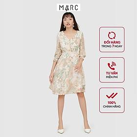Đầm nữ MARC FASHION hoạ tiết xếp li vai tay smocking