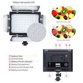 Đèn LED Trợ Sáng Chụp Ảnh Andoer W160 Cho Máy Canon Nikon Pentax Sony (Alpha) Olympus Fujifilm DSLR DV (160 Bóng) (6000K)