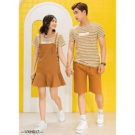 Đồ đôi nam nữ ️️ set áo cặp kẻ sọc kèm yếm và quần short kaki AT30