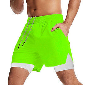 Men 2 in 1 Sport Shorts with Towel Loop Zip Pocket Quick Dry Elastic Waist Short Pants for Gym Basketball Running