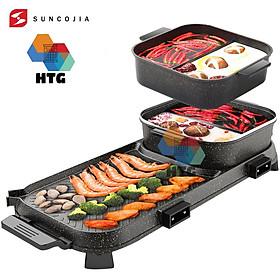 Bếp lẩu nướng 2 trong 1 Suncojia LW-1702D nồi lẩu 2 ngăn tách rời, dung tích lớn cho gia đình đông, chống dính không khói, hàng chính hãng