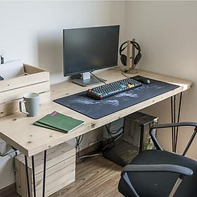Bàn làm việc màu gỗ tự nhiên phong cách Minimalism, bàn học gỗ Thông chân sắt, bàn ăn gỗ Thông tấm dày dặn kích thước lớn