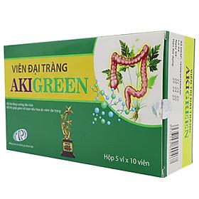 Viên uống đại tràng Aki Green – Giảm nhanh các triệu chứng rối loạn tiêu hóa, đầy bụng khó tiêu, đau quặn bụng, đi ngoài lúc táo lúc lỏng, phân sống do viêm đại tràng. Hộp 50 viên. SP Chính hãng.