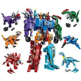 Xếp hình đồ chơi mô hình siêu nhân robot từ khủng long trí tuệ 6 trong 1 cho bé