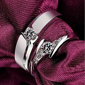 Nhẫn đôi bạc nhẫn cặp bạc đẹp đính đá ND0048
