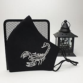 Khẩu trang thêu tay vải linen đen JL01M Unisex