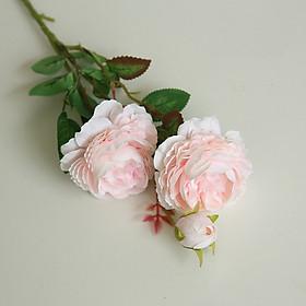 Cành hoa hồng giả lụa cao cấp - hoa giả trang trí