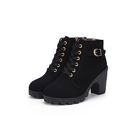Giày Bốt Nữ Da Lộn Gót Vuông G3382