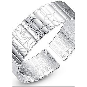 Vòng tay nữ khắc hoa sen và bát nhã tâm kinh mạ bạc dầy