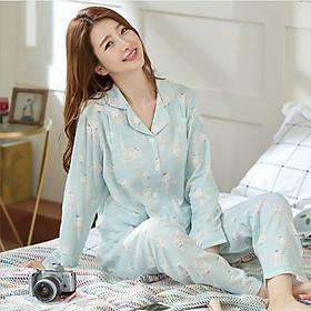 Bộ Pyjama Bầu Và Sau Sinh Dài Tay Azuno AZ278 Chất Thô Đũi Nhẹ, Thoáng Mát Có Thiết Kế Cho Con Bú