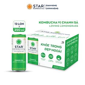 Thùng 12 lon thức uống lên men STAR KOMBUCHA Chanh Sả / Loving Lemongrass (250ml/lon)