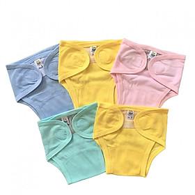 Combo 5 quần bỉm, tả vải cotton sơ sinh, chất vải 100% cotton mềm, mịn, thoáng khí, miếng dán mềm