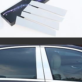 Bộ 4 thanh nẹp inox cột B cánh cửa dành cho xe ô tô Mercedes dòng S-Class đời từ 2014-2020, băng dán 3M hai mặt hình chữ đi kèm đảm bảo chắc chắn