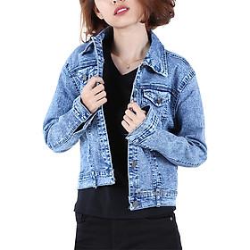 Áo Khoác Jean Nữ Cổ Bẻ Hưng Phát 9207 (Free Size) - Xanh