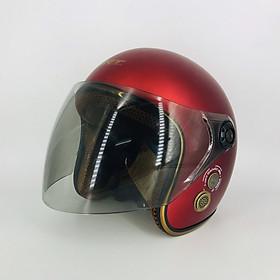 Mũ bảo hiểm 3/4 SRT 368K viền đồng lót nâu cao cấp có thông gió – kính Flat cao cấp – Đỏ đô – dành cho người đi phượt