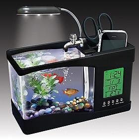 Bể cá mini Nhà của Mẹ để bàn làm việc tích hợp đèn led, màn hình LCD, ngăn để đồ, tặng kèm tiểu cảnh, kích thước 24 x 20 x 10 cm