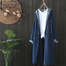 Áo Khoác Hoodie Tay Dài Chất Vải Jeans Mỏng Kiểu Dáng Sporty Dành Cho Phái Nữ (Thương Hiệu ZANZEA)