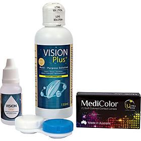 [COMBO D] Một Cặp Kính Áp Tròng Australia Màu Nâu Mediclear 3 Tháng + Nước Ngâm + Nước Nhỏ Mắt