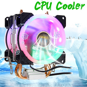 CPU Cooler 2 Heatpipe 2x RGB Fan 4Pin For Intel 775/1150/1151/1155/1156/1366 AMD