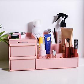 Kệ đựng mỹ phẩm 2 tầng mini, hộp đựng đồ trang điểm, makeup bằng nhựa